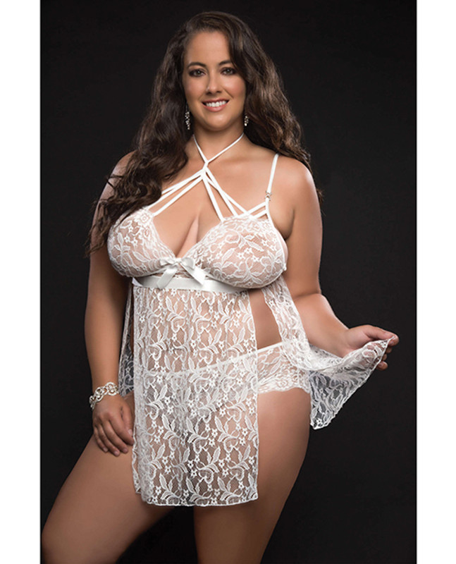 Lace Halter Babydoll W/lace Panty White Qn