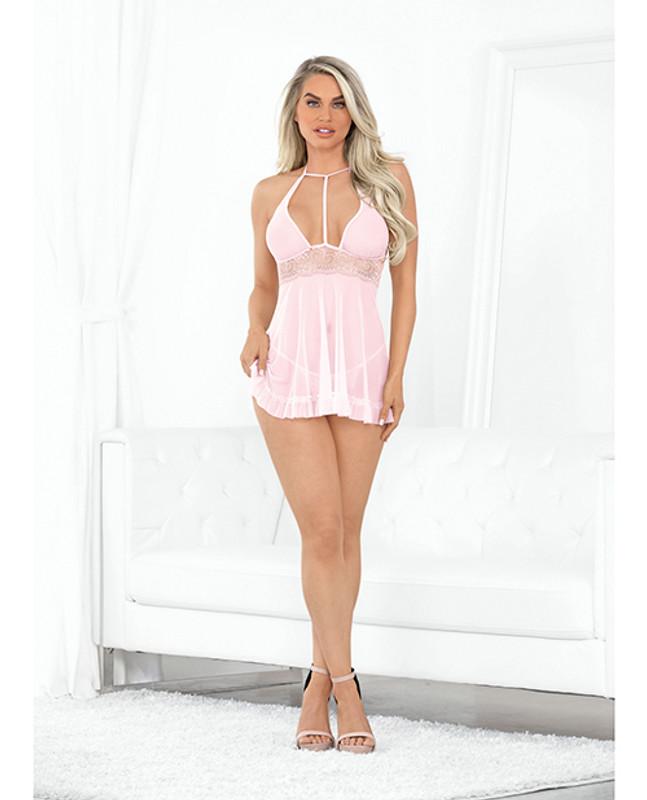 Hi Neck Sheer Babydoll W/open Crotch Panty Pink Md
