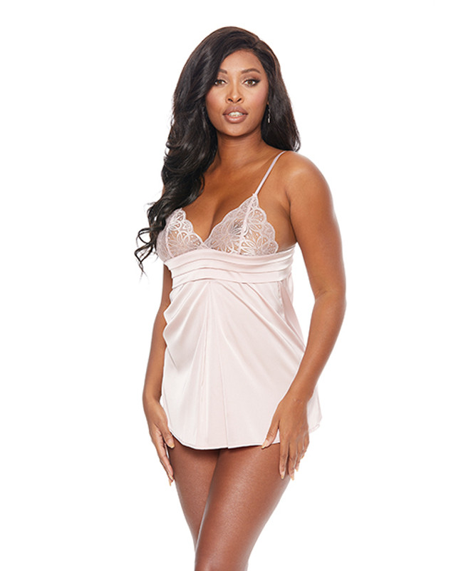 Lace Cup & Pleated Babydoll W/corset Tie In Back & G-string Blush Xl
