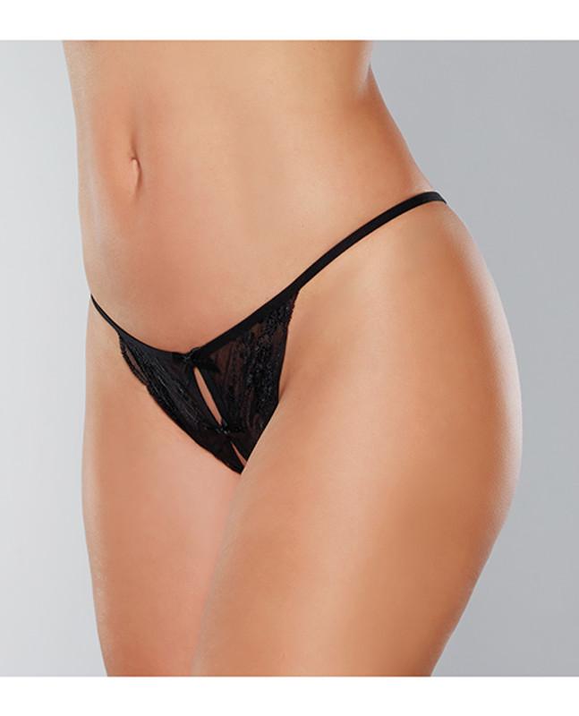 Adore Secrets Double Mini Bow Detail Open Back Lace Panty Black O/s
