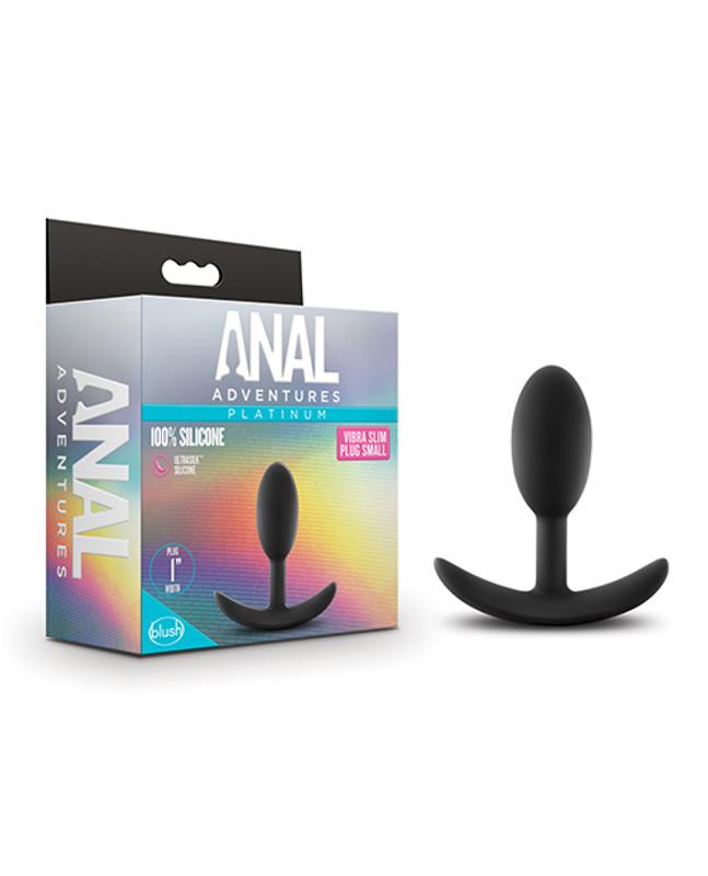 Blush Anal Adventures Platinum Silicone Vibra Slim Plug Small - Black