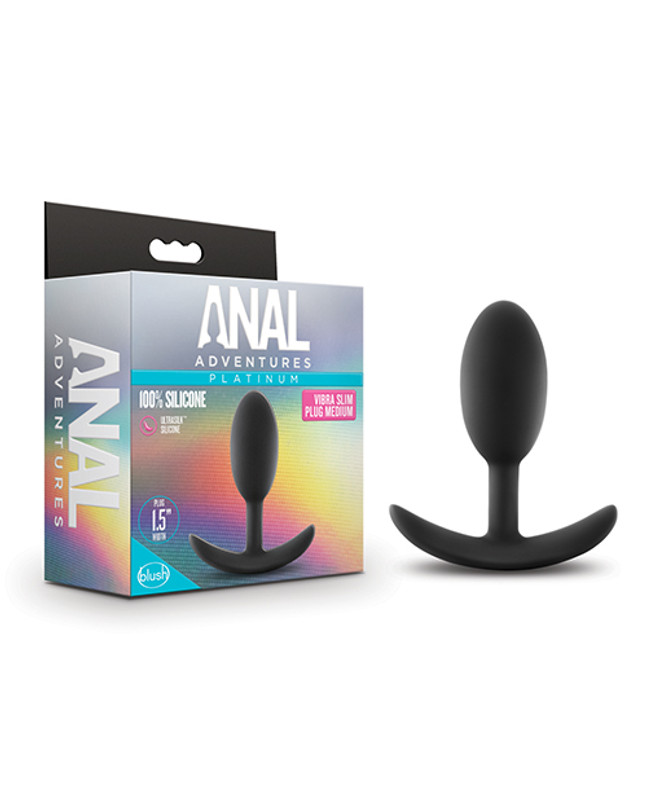 Blush Anal Adventures Platinum Silicone Vibra Slim Plug Medium - Black