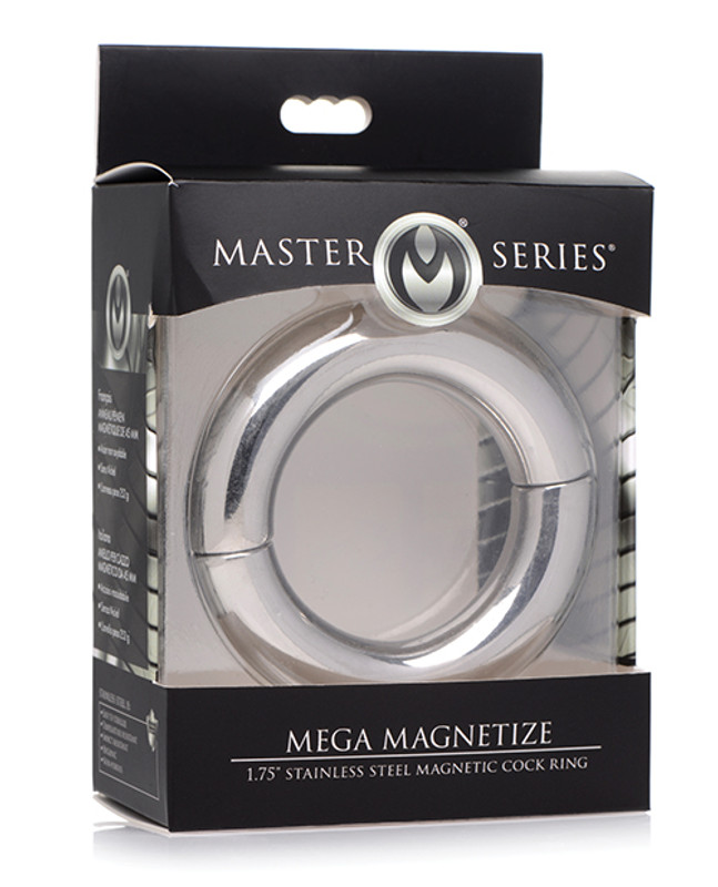 """Master Series Mega Magnetize 1.75"""" Stainless Steel Magnetic Cock Ring - Silver"""
