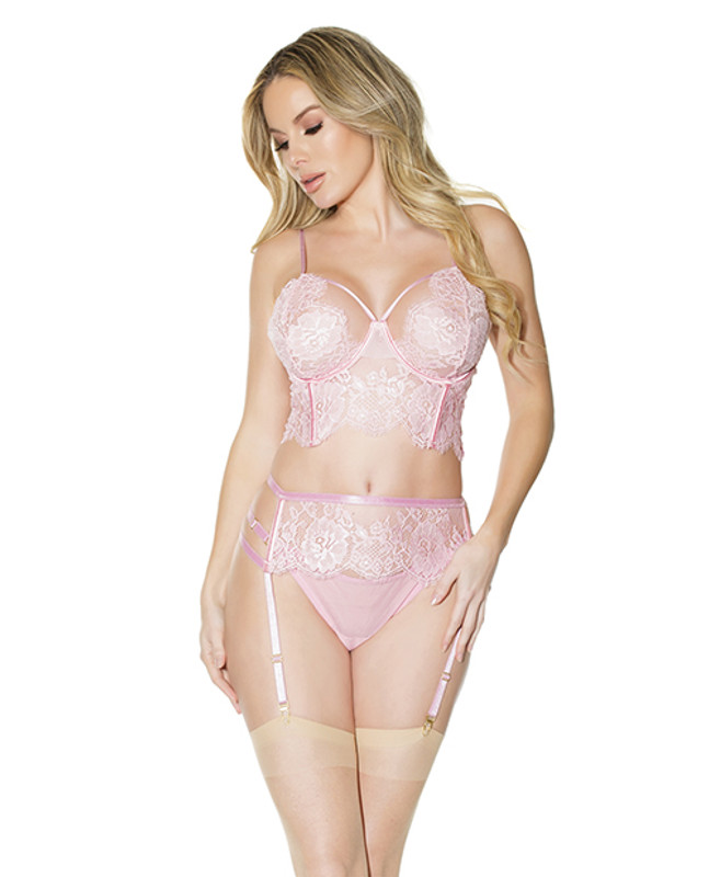 Crystal Pink Longline Bra, Garter Belt & Panty Pink Lg