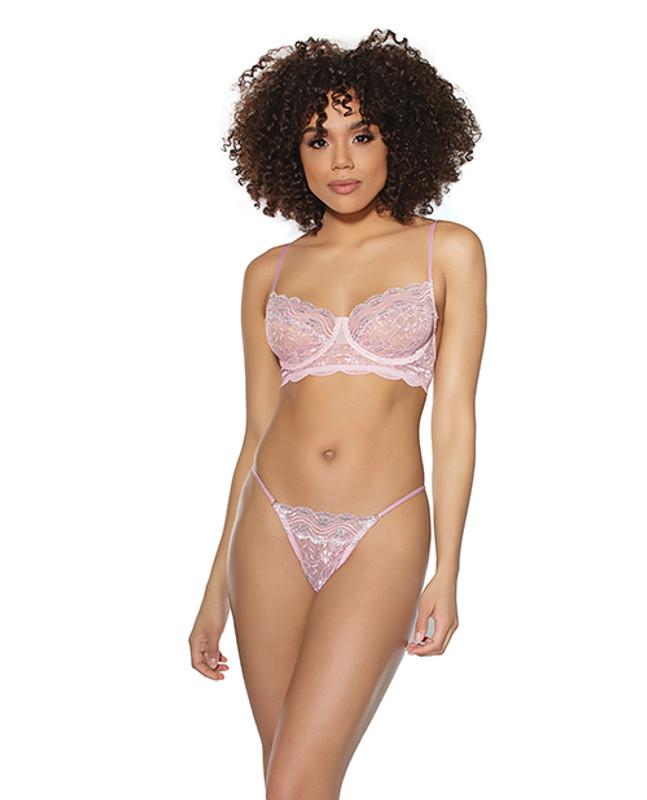 Crystal Pink Underwire Bra & G-string Pink/silver Lg