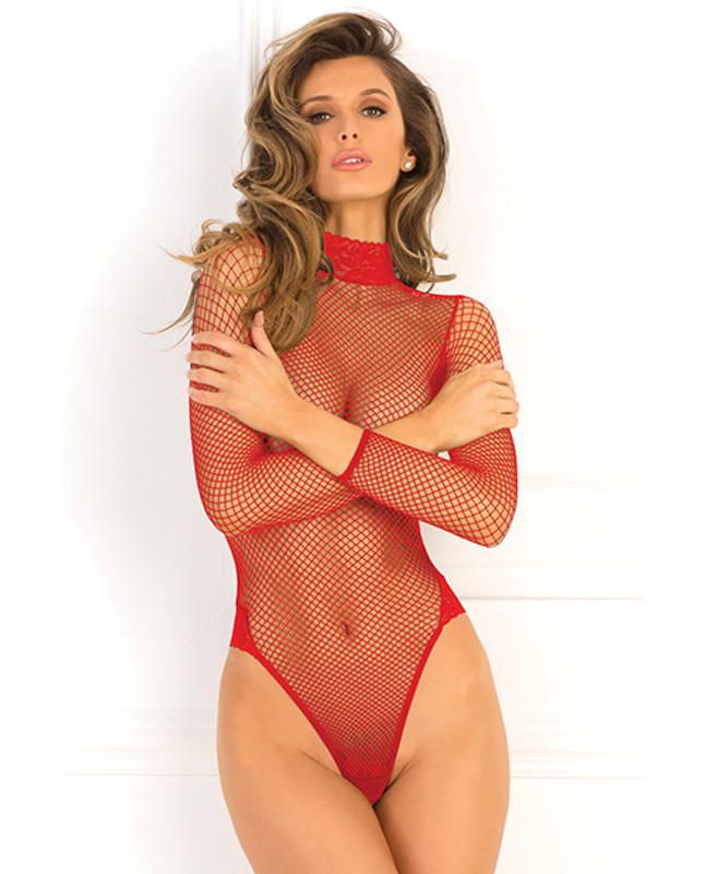 Rene Rofe High Demand Fishnet Bodysuit Red M/l