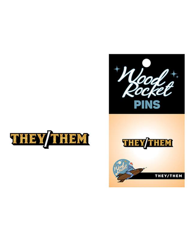 Wood Rocket They/them Pin - Black/gold