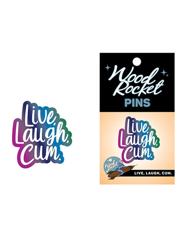 Wood Rocket Live Laugh Cum Large Pin - Multi Color