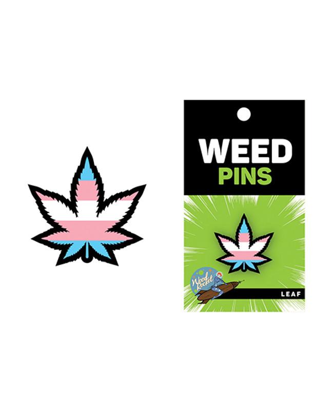 Wood Rocket Weed Trans Pride Leaf Large Pin - Multi Color
