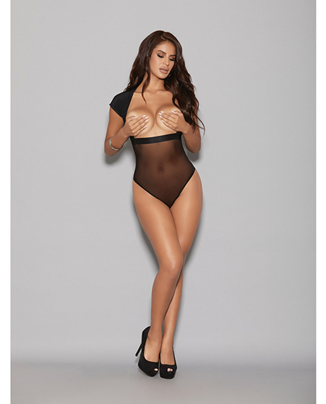 Lingerize Multiwear Teddy (customize W/your Favorite Bra) Black L/xl