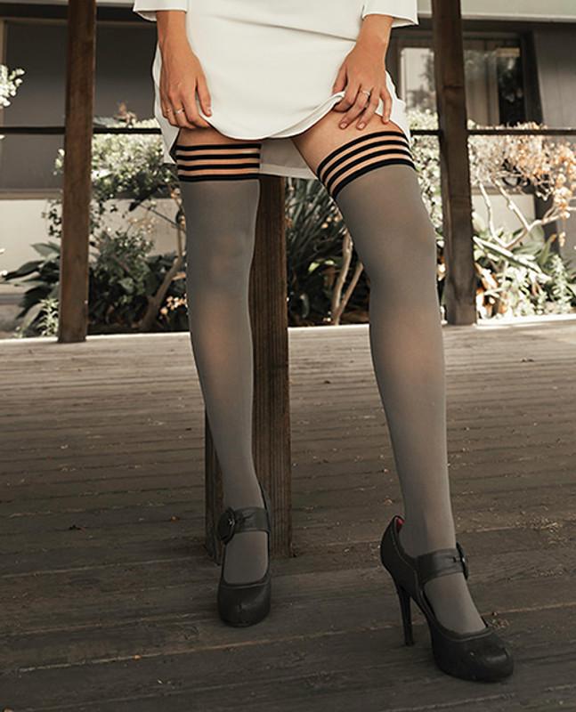 Kixies Sierra Opaque Thigh High Grey B