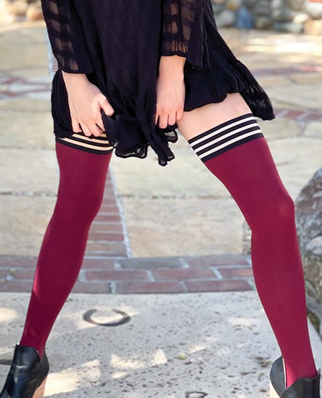 Kixies Heather Opaque Thigh High Cranberry A