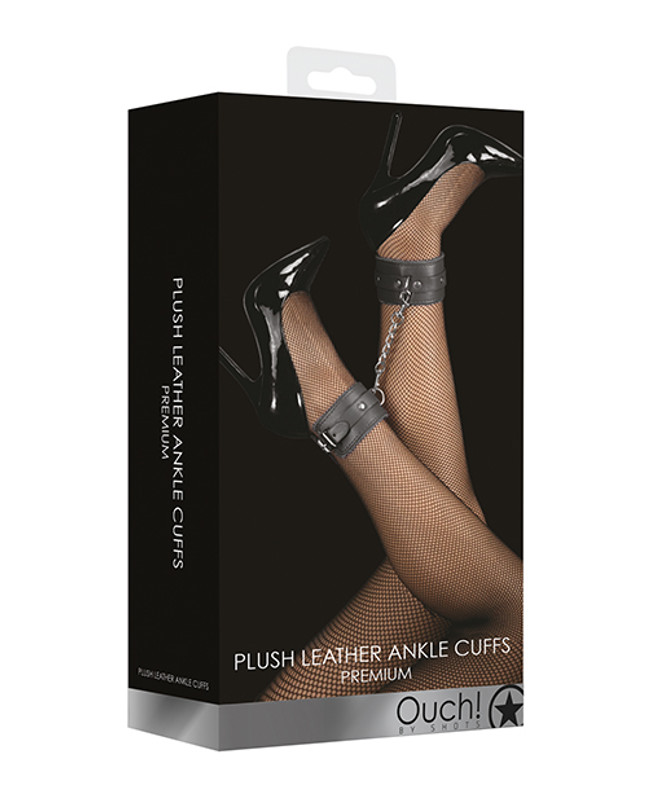 Shots Ouch Plush Leather Ankle Cuffs - Black