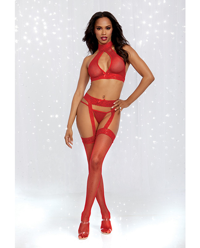 Holiday/valentines Bodystocking Halter Bralette, Garter Pantyhose & G-string Rouge O/s