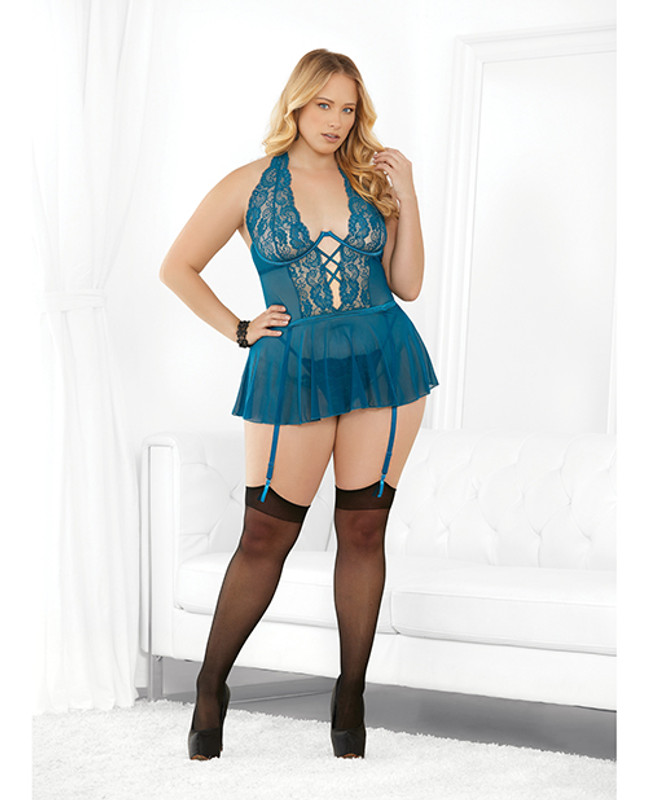 Holiday Exposed Underwire Cami W/garters & Hose Dark Teal 3x