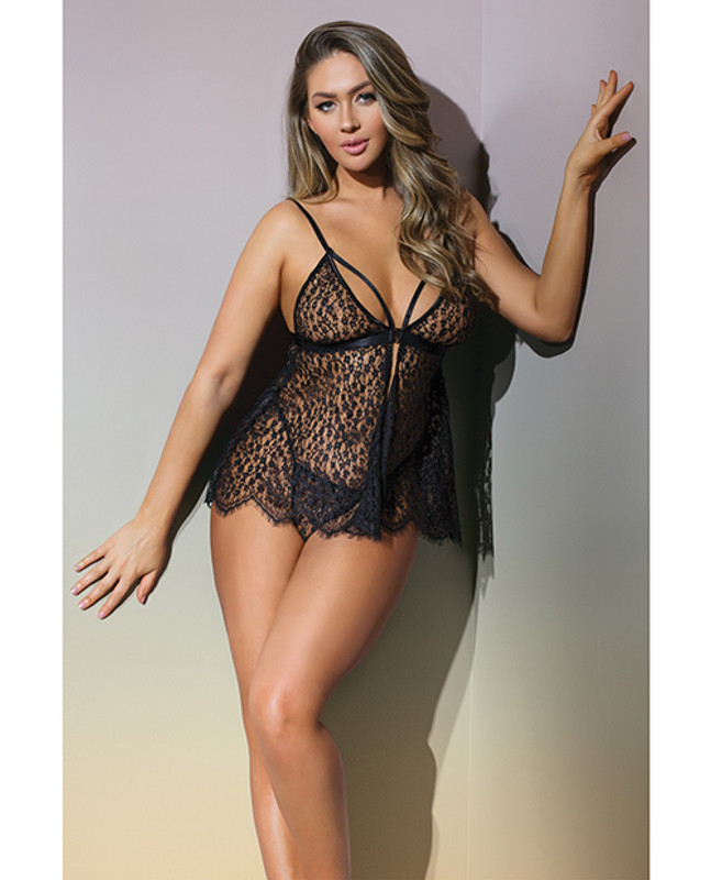Classic Fine Lace Sheer Triangle Cup Babydoll & G-string Black O/s