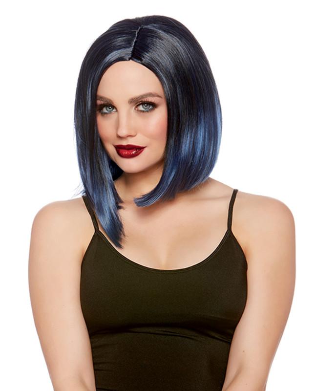 Faux Ombre Blunt Bob Adjustable Wig - Black/navy