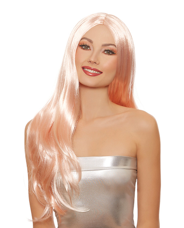 Long Straight Layered Adjustable Wig - Rose Gold