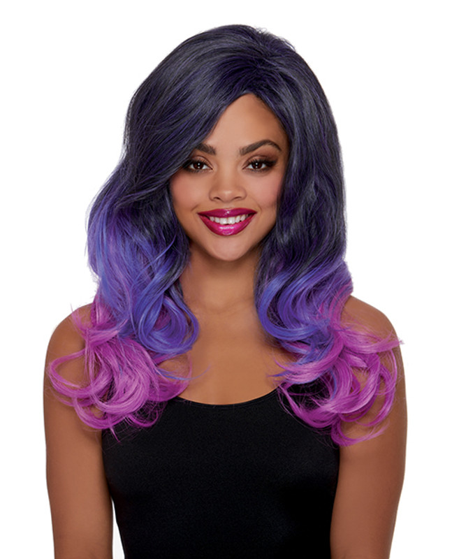 Faux Ombre Layered Adjustable Wig - Purple
