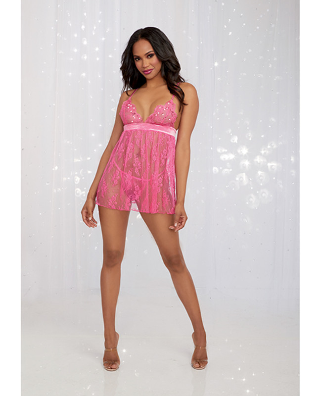 Valentines Sequin Embroidery & Lace Babydoll W/panty Fuchsia Lg