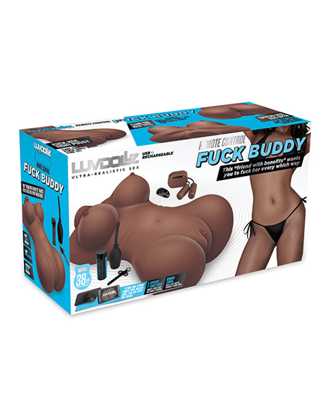 Luvdolz Remote Control Rechargeable Fuck Buddy W/douche - Mocha