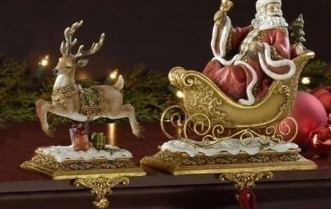 Santa Claus Sleigh & Reindeer Stocking Holders