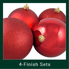 Red 4-Finish Christmas Ornaments