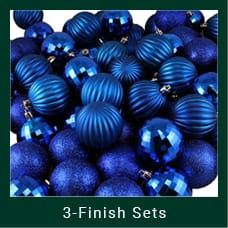 Blue 3-Finish Christmas Ornaments
