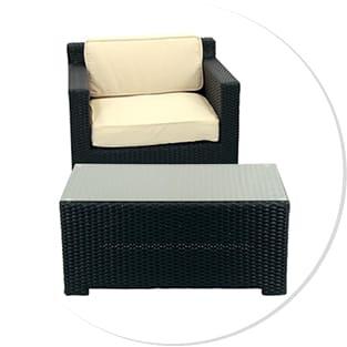 Black & White Patio Chair & Table