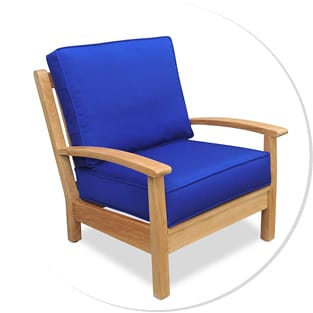 Wood Finished Patio Chair with Blue Cushions