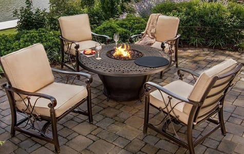 Beige Patio Set With Firepit Table