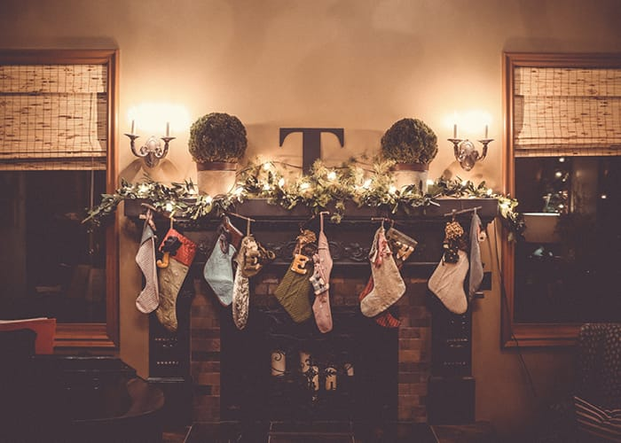 Stockings on Mantel in Family Room