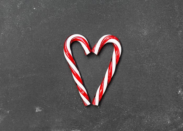 Candy Canes Shaped Into A Heart