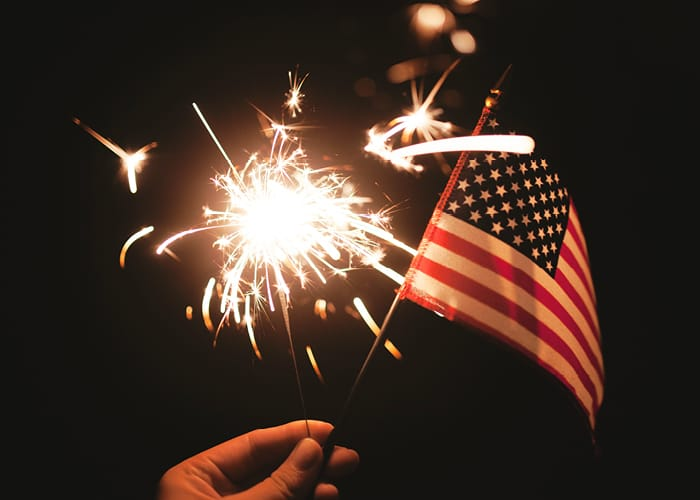 American Flag & Sparkler