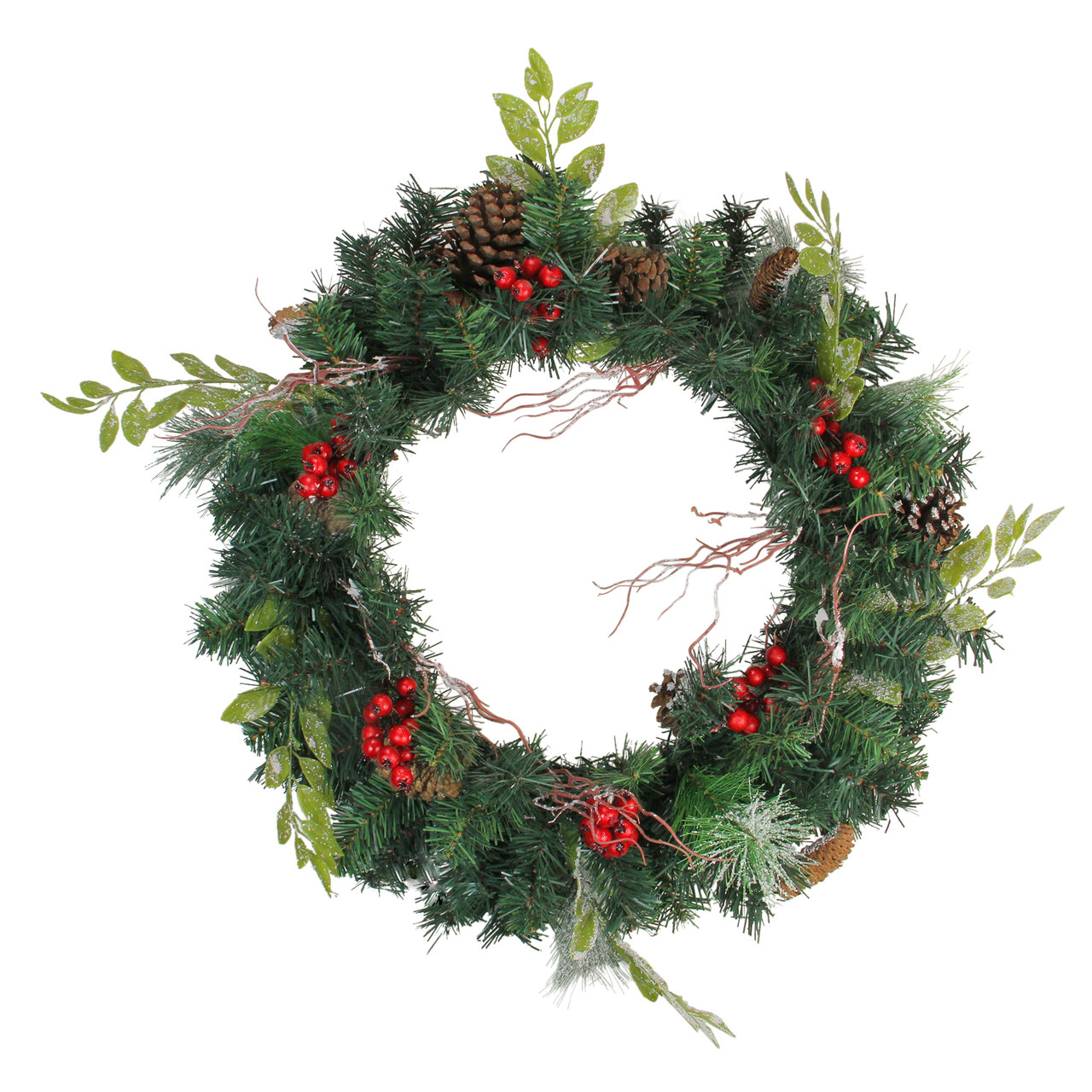 Frosted Red Country Berries Christmas Pick Tree Wreath Table Decor Pinecones