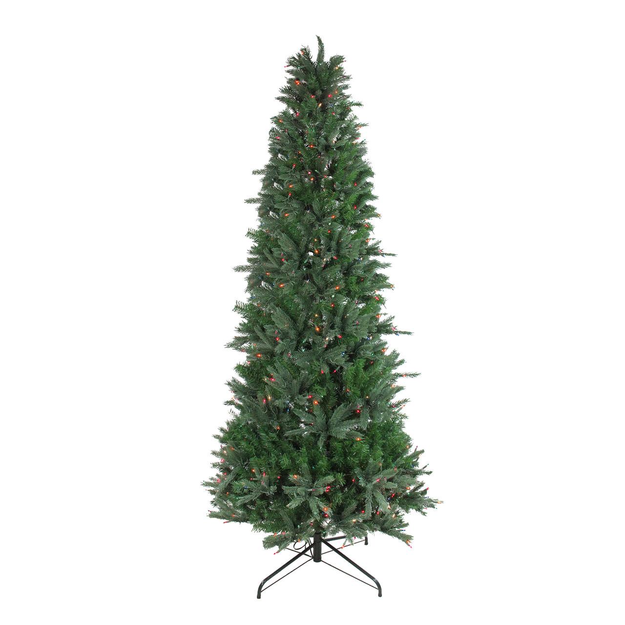 Multi Color Pre Lit Christmas Trees: 9.5' Pre-Lit Slim Vermont Fir Artificial Christmas Tree