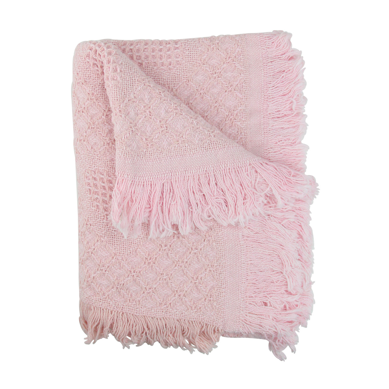 Pink Heart Honeycomb Cotton Baby Afghan Throw Blanket Christmas