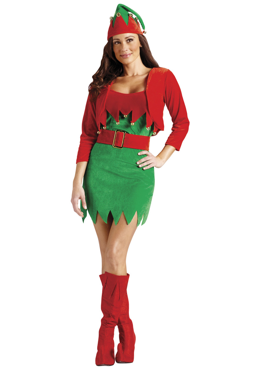 Lot Of 2 Christmas Elf Vest Costume Red//Green W//Bells Adult One Size Polyester