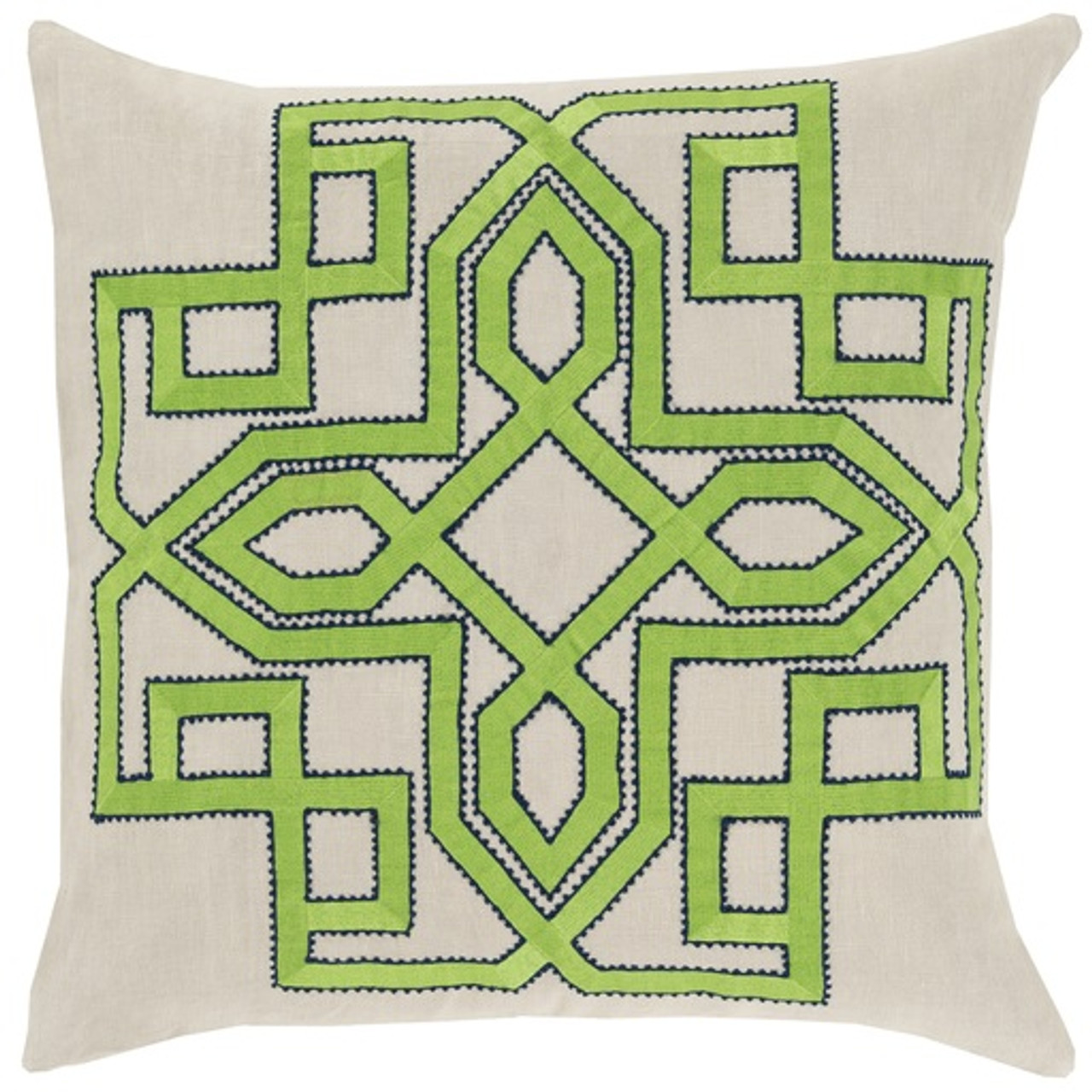 20 Lavish Labyrinth Lime Green Navy Blue Cream Decorative Square Throw Pillow Down Filler Christmas Central