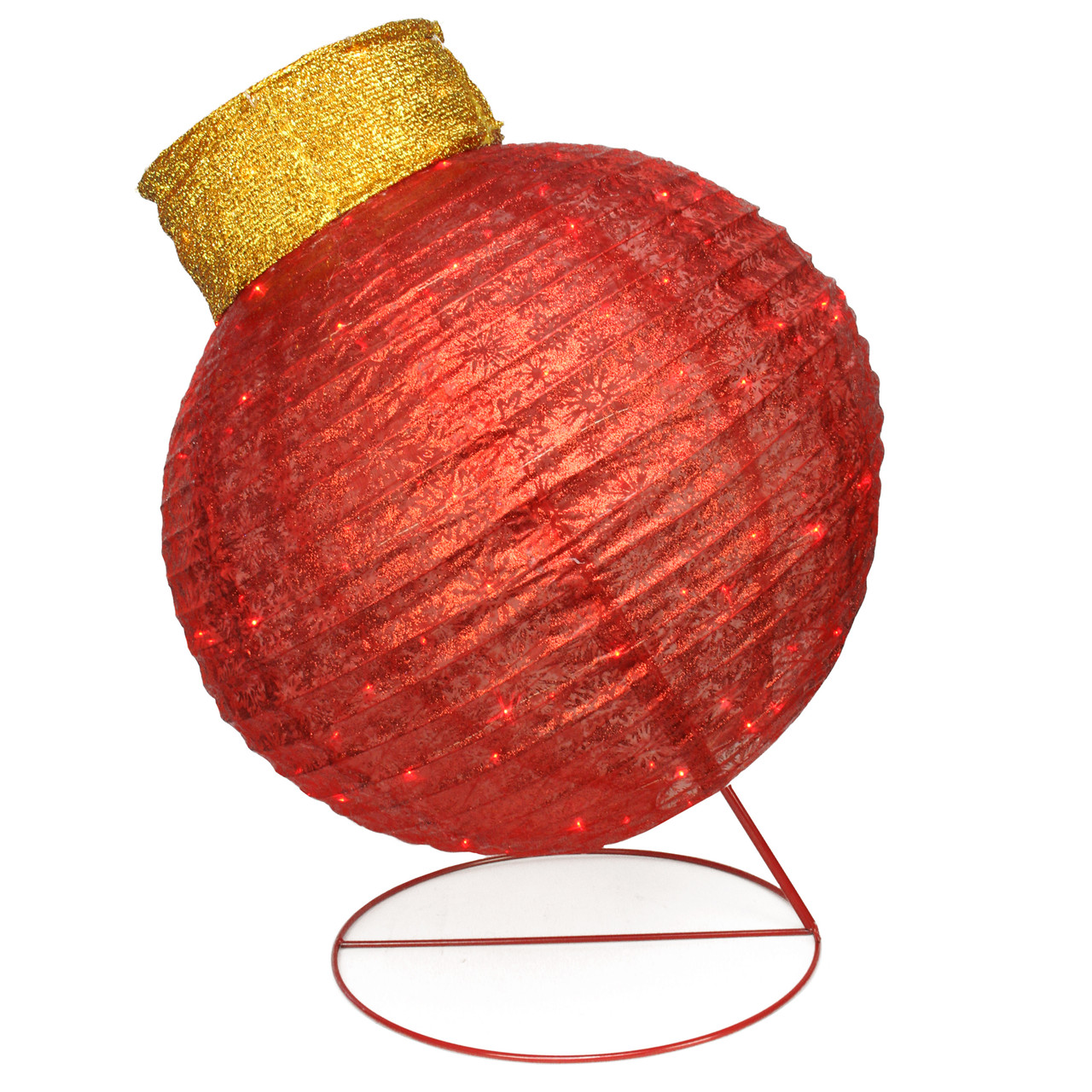 """36"""" LED Lighted Twinkling Red Glitter Ball Ornament ..."""