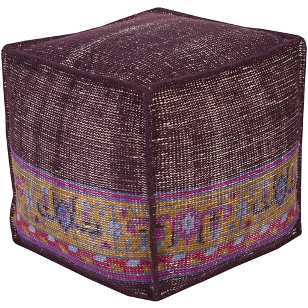 Awesome 18 Plum Purple Cherry Red And Gold Yellow Hand Knotted Wool Square Pouf Ottoman 31368872 Uwap Interior Chair Design Uwaporg