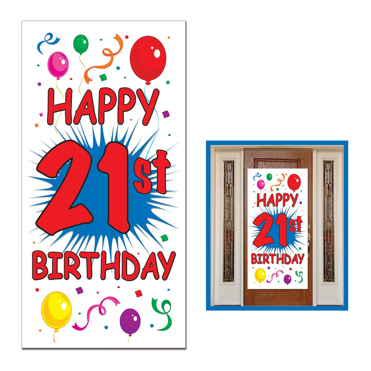 Club Pack Of 12 Birthday Themed 21st Door Cover Party