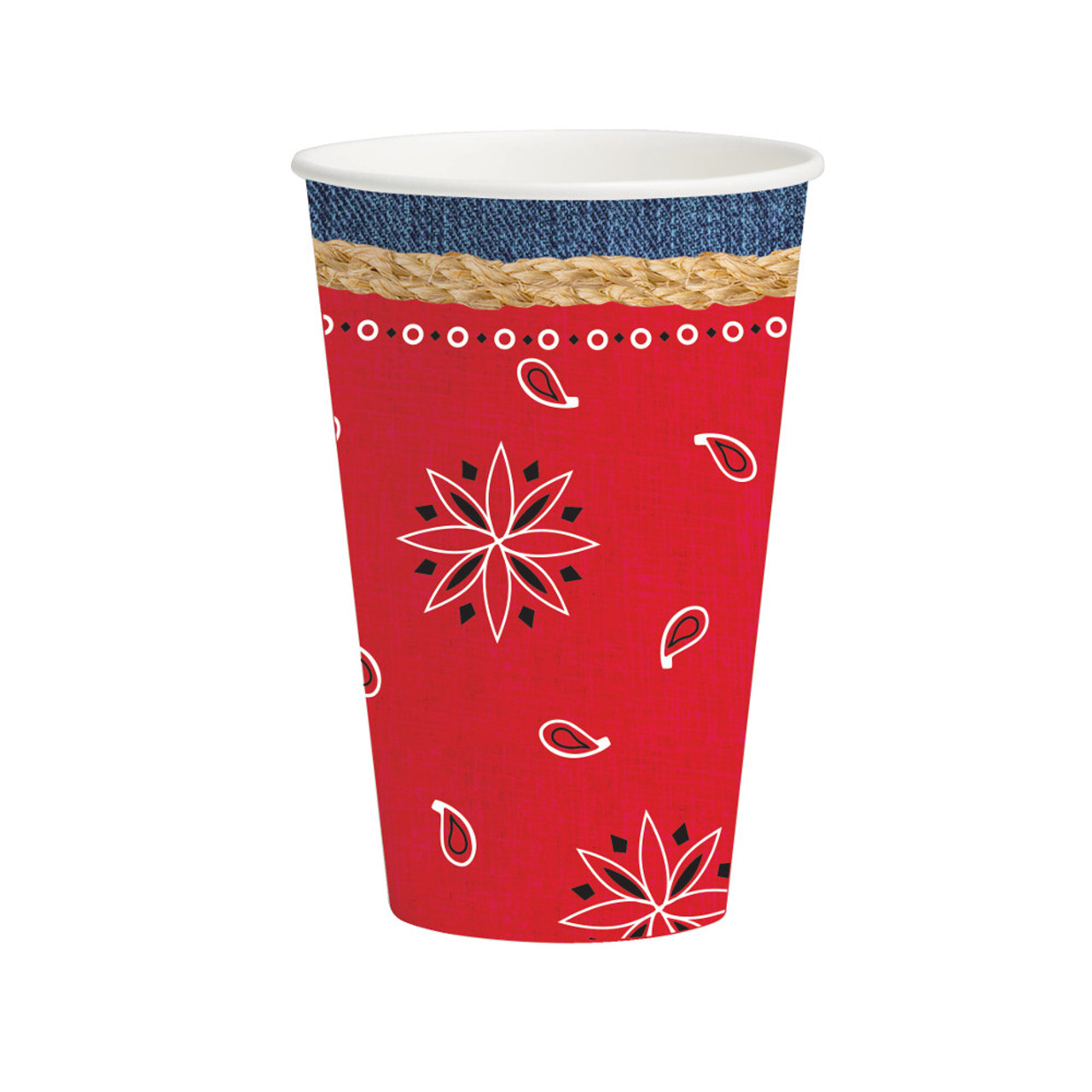 Club Pack Of 96 Bandanarama Disposable Paper Hot Cold Drinking Party Cups 12 Oz Christmas Central