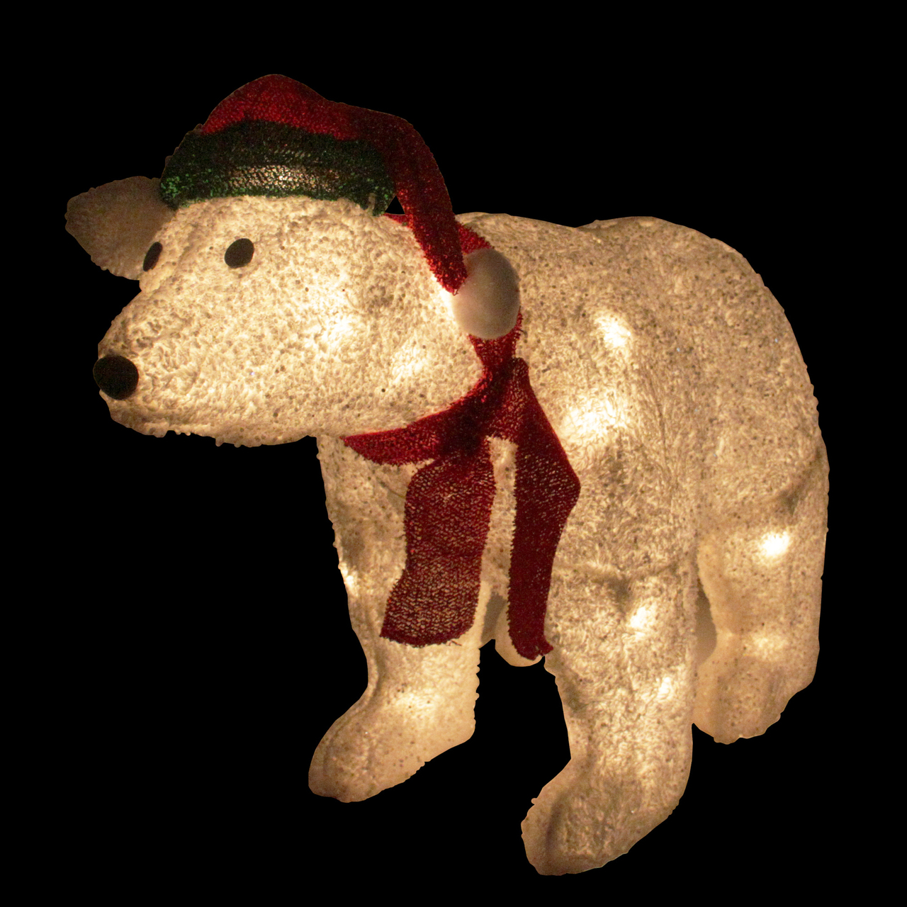 23 Lighted White Glittered Polar Bear Christmas Outdoor Decoration