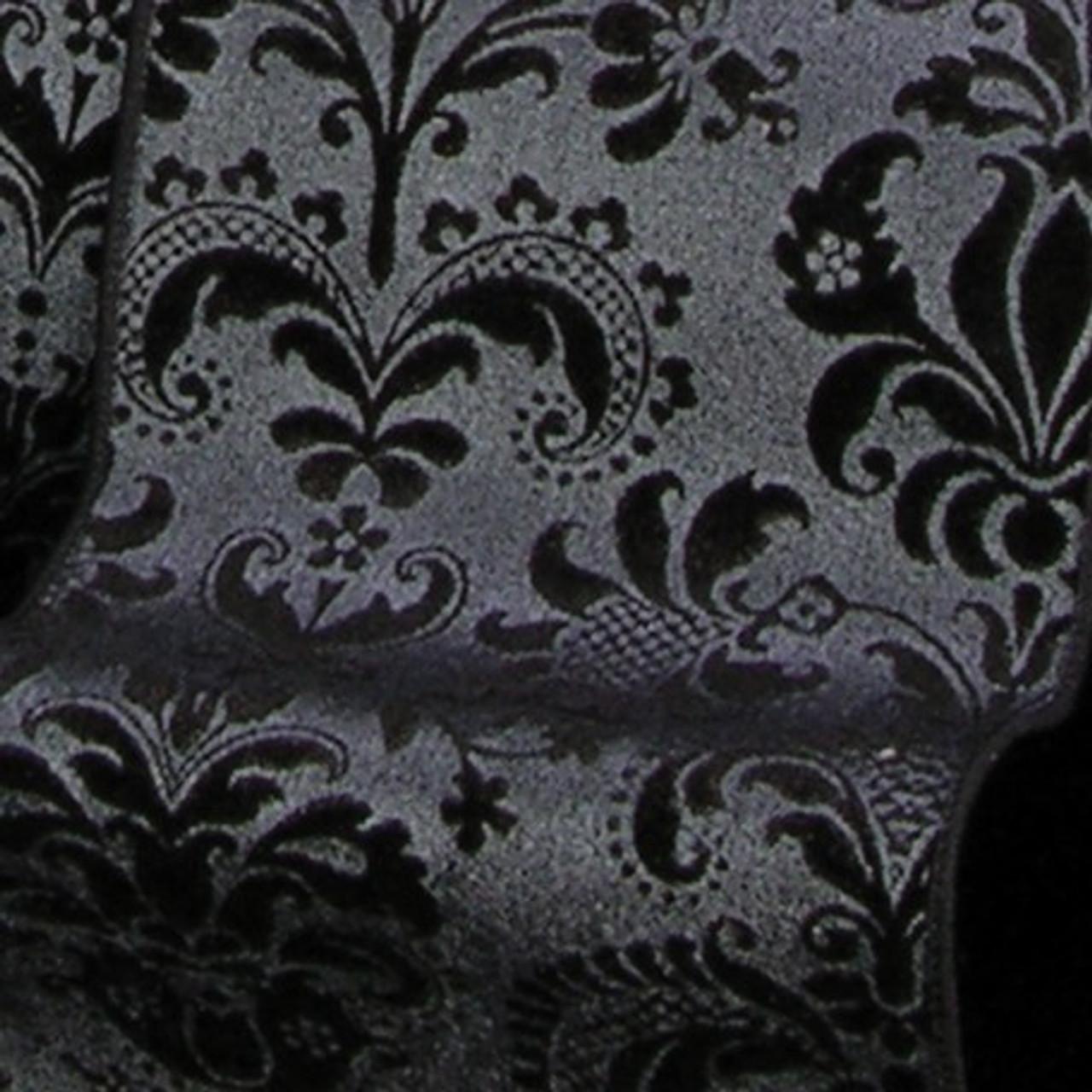 Jet Black Shiny Brocade Fabric Print Design Wired Polyester Craft