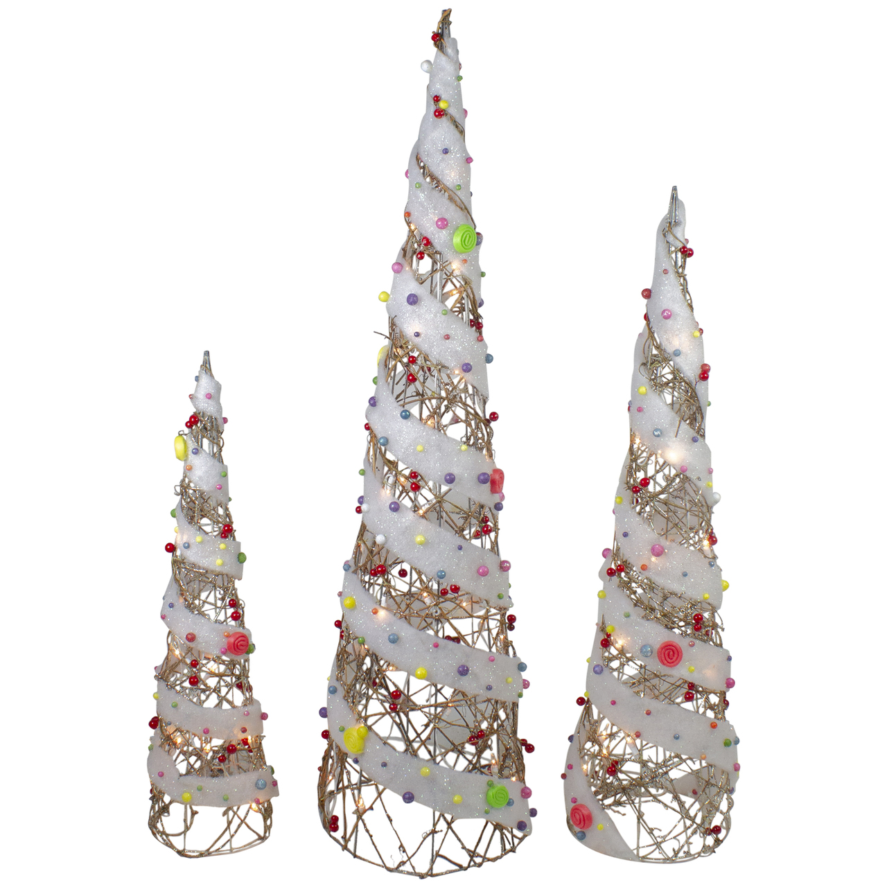 Set Of 3 Champagne Gold Lighted Rattan Candy Covered Cone Tree Outdoor Christmas Decorations 39 25 Christmas Central