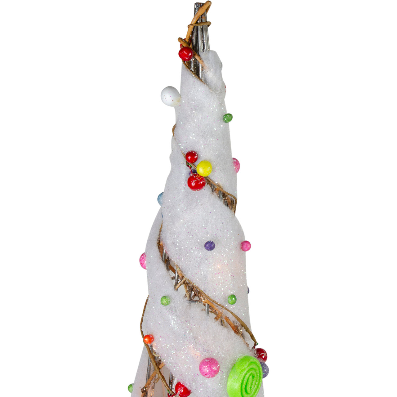 Set Of 3 Lighted Champagne Gold Rattan Candy Covered Cone Tree Outdoor Christmas Decorations 39 25 31748716