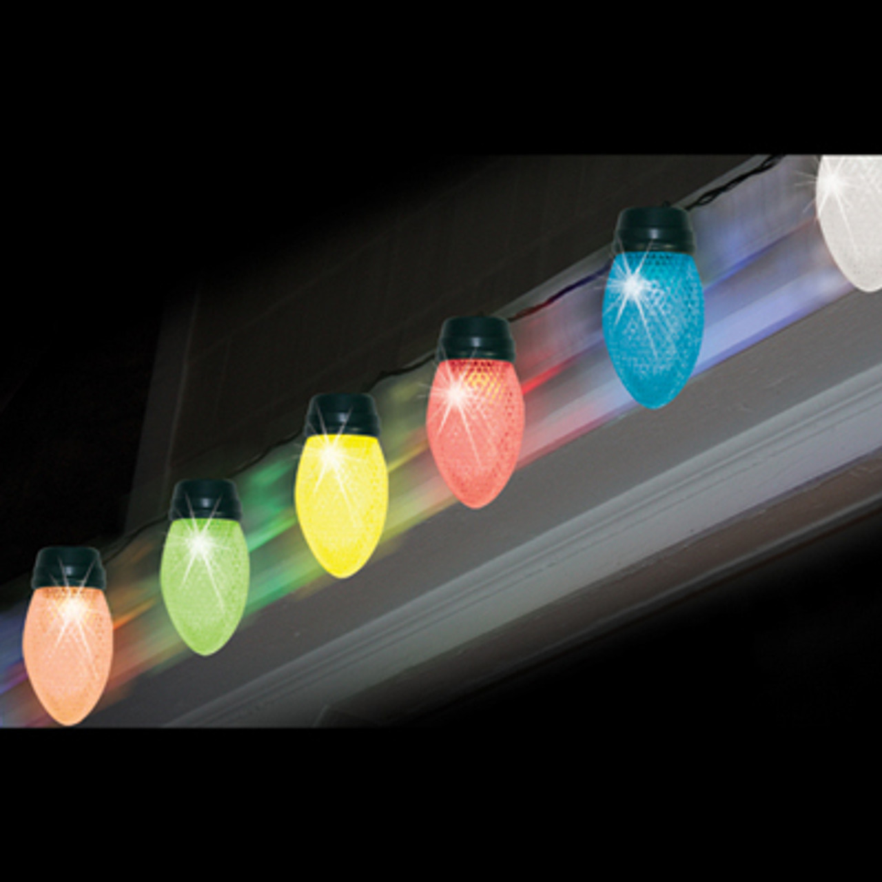 Set Of 10 Led Color Changing Jumbo C9 Multi Color Christmas Lights Green Wire 30890724