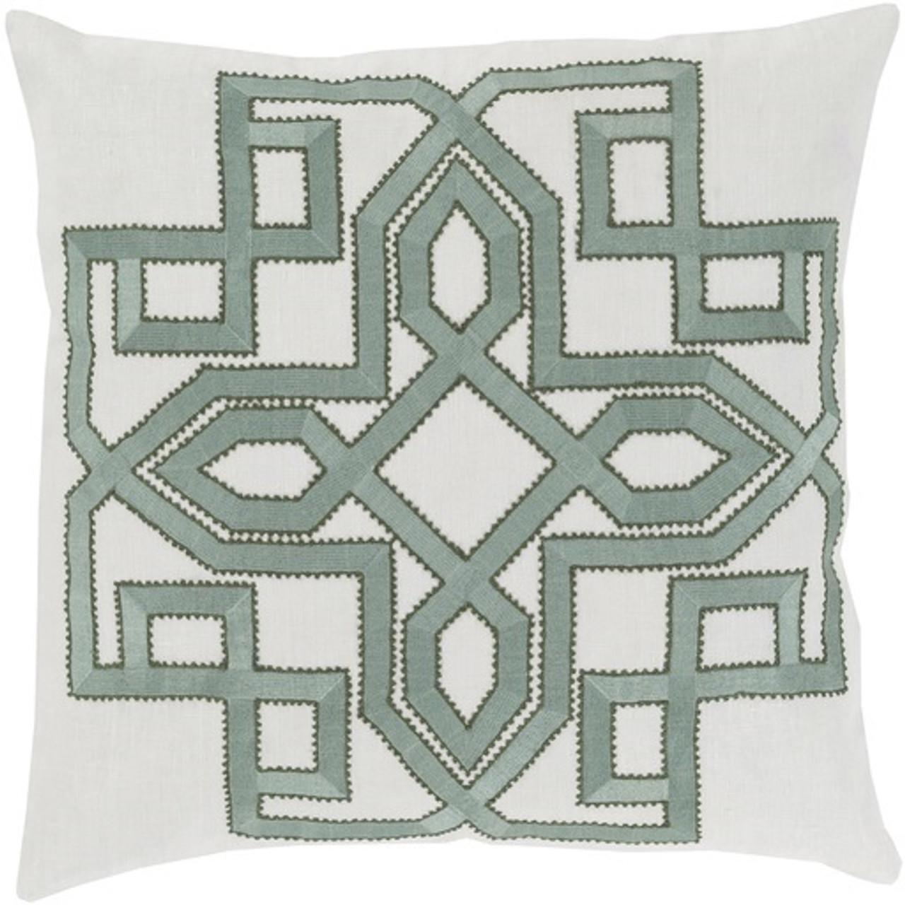 20 Lavish Labyrinth Sage Green Cream Decorative Square Throw
