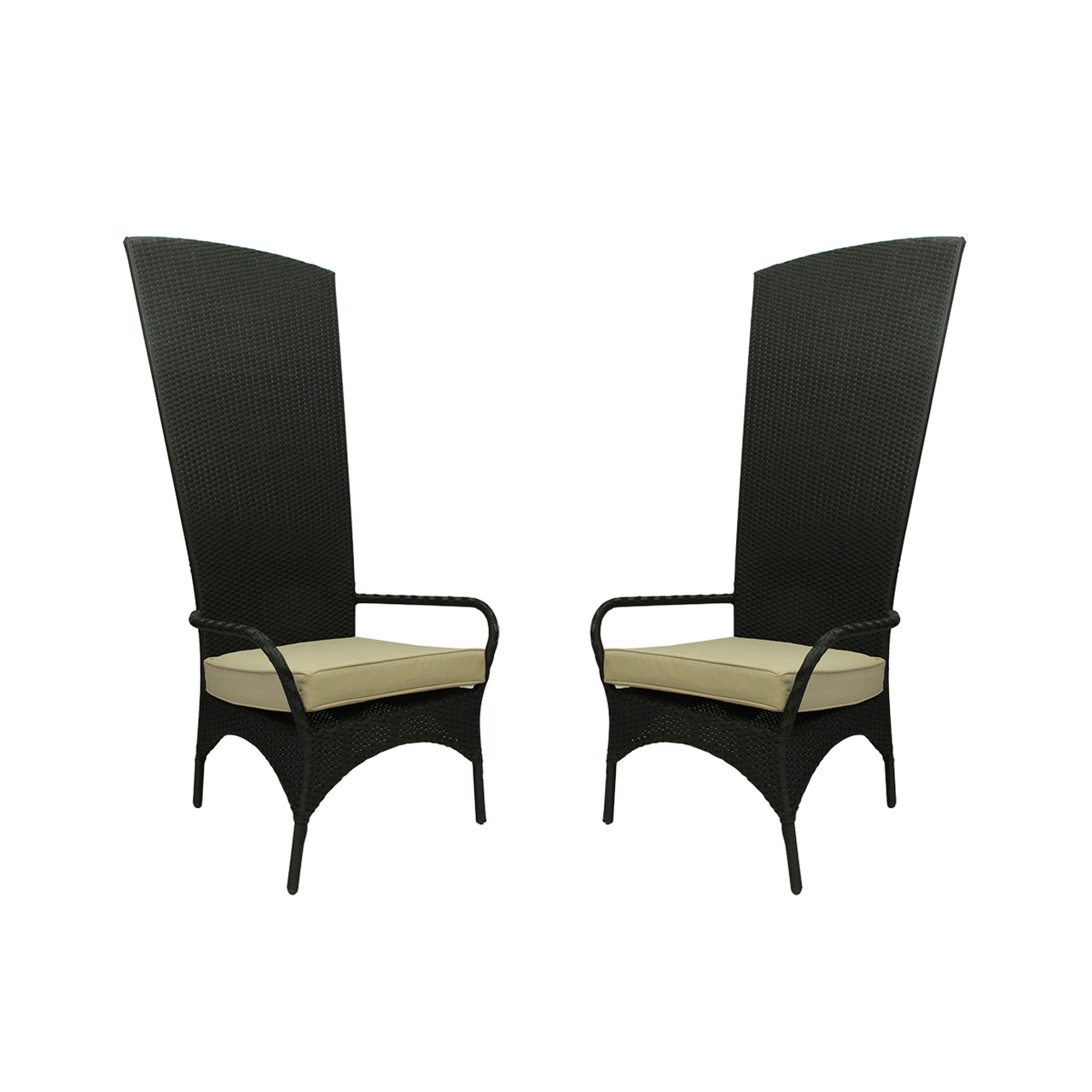 Set Of 2 Black Resin Wicker Outdoor Patio King Chairs With Beige Cushions Christmas Central